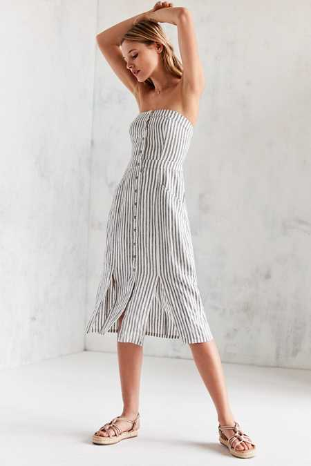Cooperative Tiffany Button-Down Strapless Midi Dress