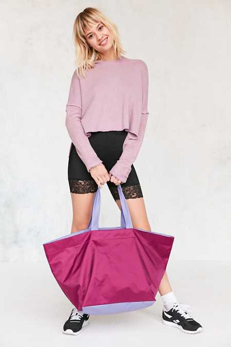 Oversized Tonal Nylon Tote Bag
