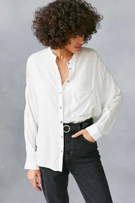 BDG Gridlock Band Collar Button-Down Shirt