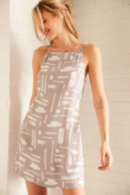 Silence + Noise Ella Printed Crepe Shift Mini Dress