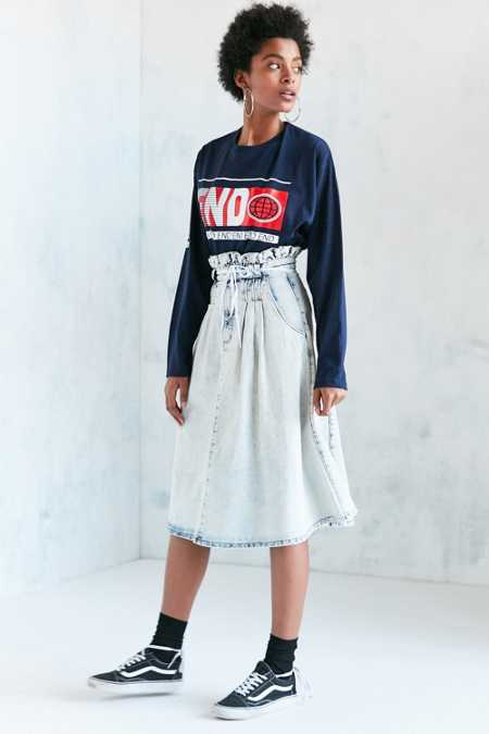 BDG Alabama Acid Wash Paperbag Denim Midi Skirt