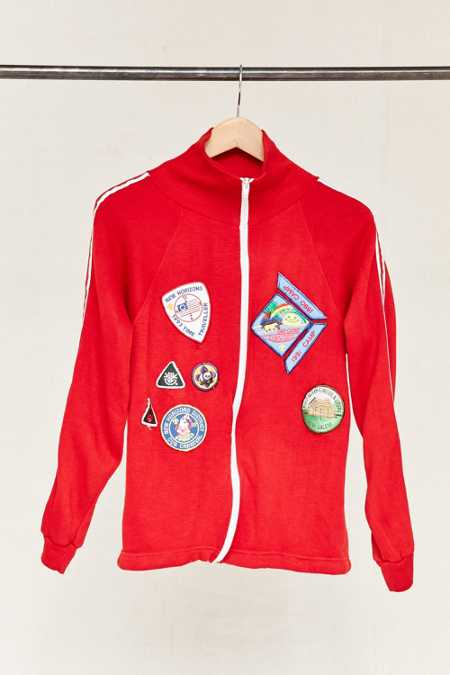 Vintage Red Patched Zip-Up Jacket