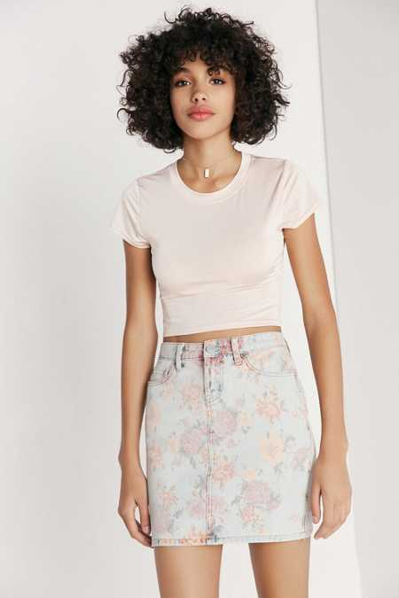 BDG Floral Print Denim Mini Skirt