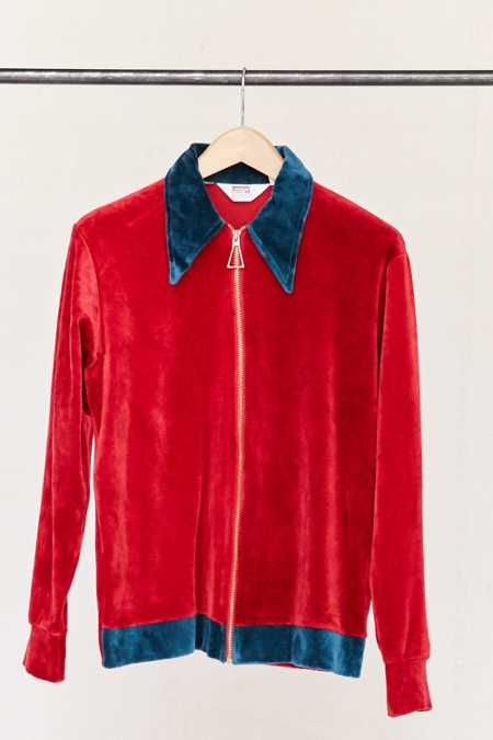 Vintage 70's Red Velour Zip-Up Jacket