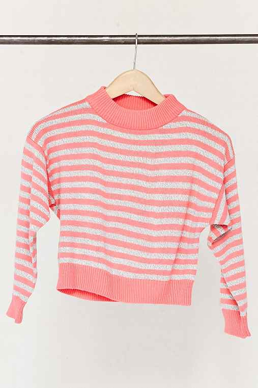 Vintage Cropped Pink Striped Sweater,ASSORTED,ONE SIZE