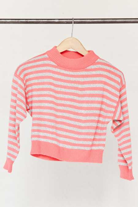 Vintage Cropped Pink Striped Sweater