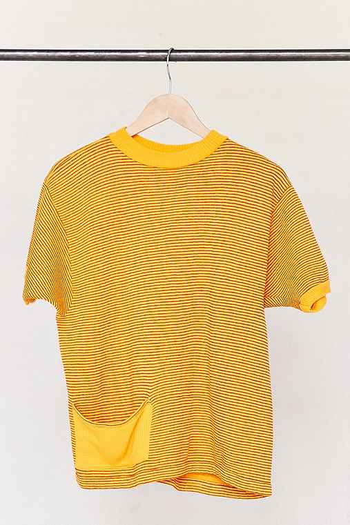 Vintage Gold Striped Short-Sleeved Sweater,ASSORTED,ONE SIZE