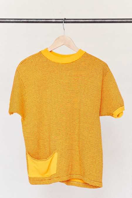 Vintage Gold Striped Short-Sleeved Sweater