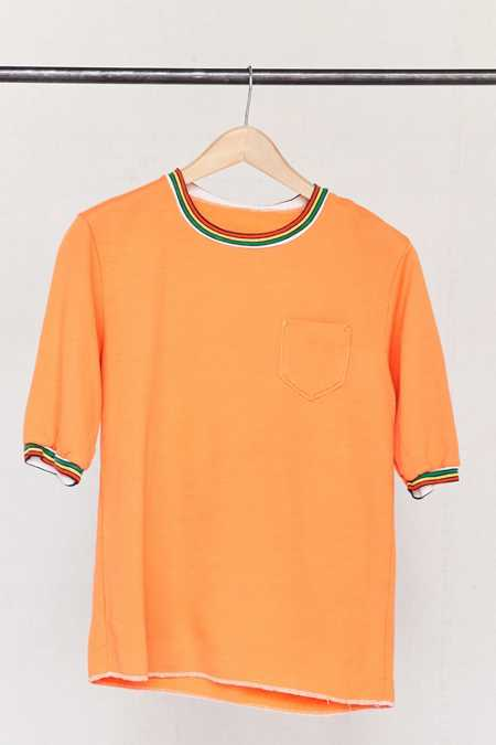 Vintage Orange Pocket Short-Sleeved Sweater