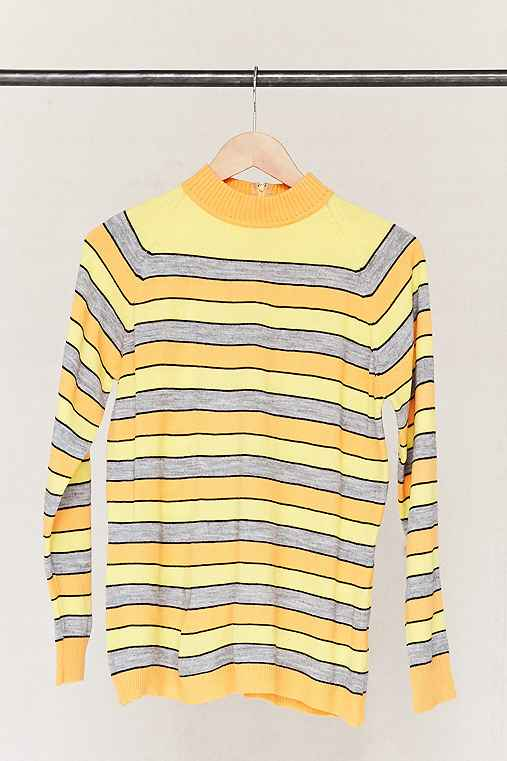 Vintage Striped Mock Neck Sweater,ASSORTED,ONE SIZE