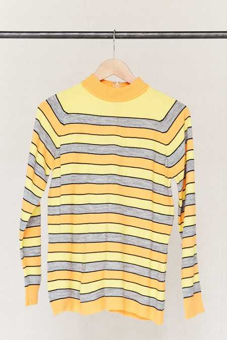 Vintage Striped Mock Neck Sweater