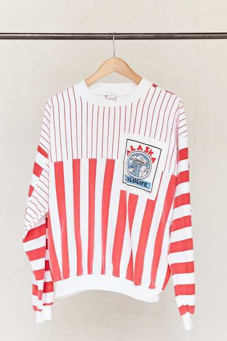 Vintage Alaska Striped Sweatshirt