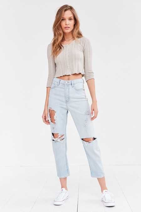BDG Girlfriend High-Rise Jean - Light Blue Slash