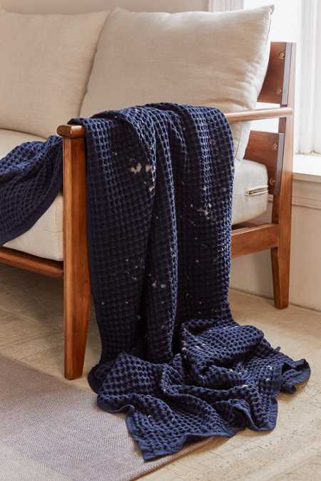 Distressed Waffle Throw Blanket