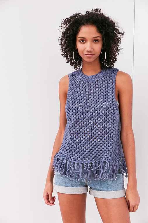 Ecote Sophie Fringe Crochet Tank Top,BLUE,L