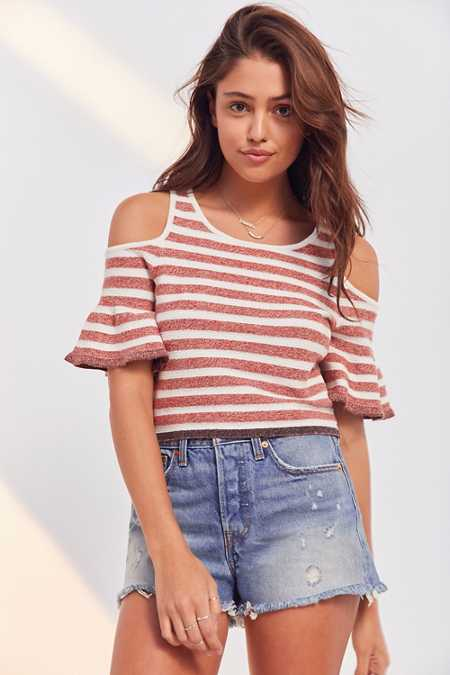 Kimchi Blue Striped Cold-Shoulder Cropped Sweater