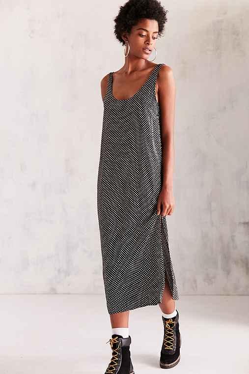Cooperative Daphne Scoop-Back Midi Slip Dress,BLACK & WHITE,XS