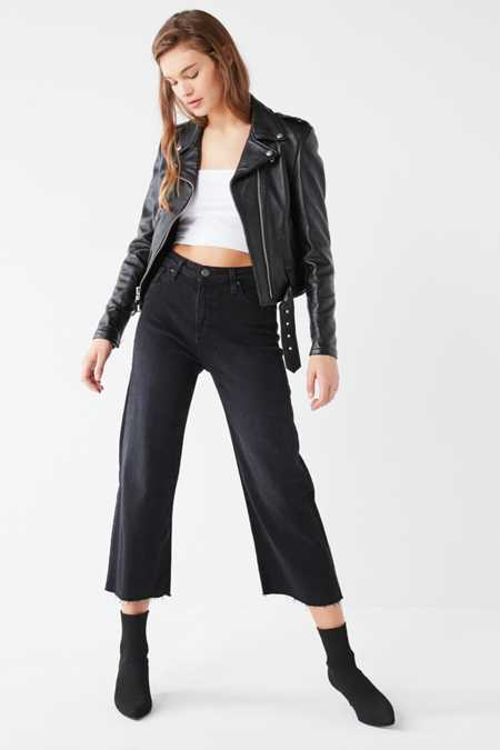 BDG Cropped Denim Culotte - Washed Black