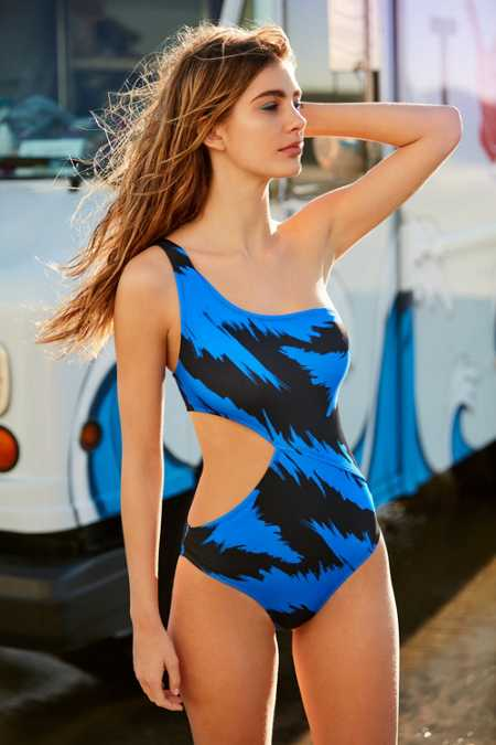 Out From Under Printed One Shoulder One-Piece Swimsuit