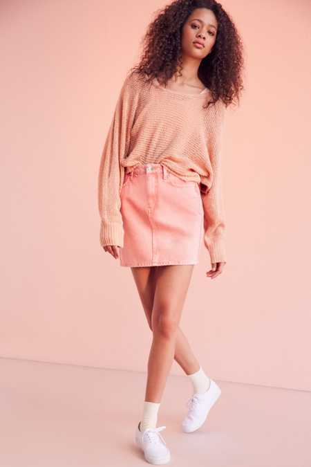 BDG Pencil Denim Mini Skirt - Pink Acid Wash