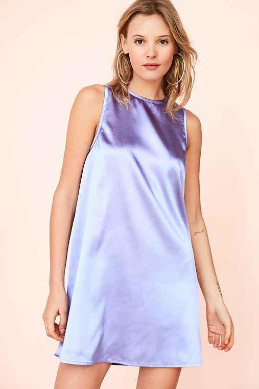 Kimchi Blue Carmine Satin Frock Mini Dress,PURPLE,XS