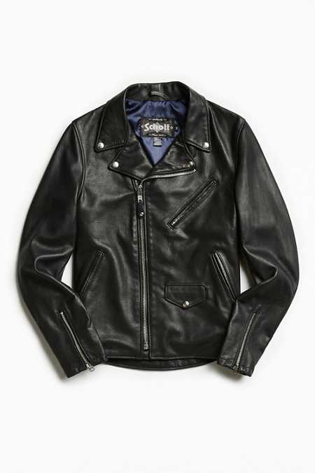 Schott X UO Stonewashed Pebbled Leather Perfecto Jacket