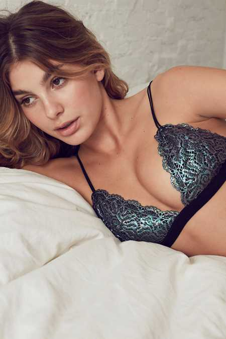 Out From Under Shimmer Lace Triangle Bra