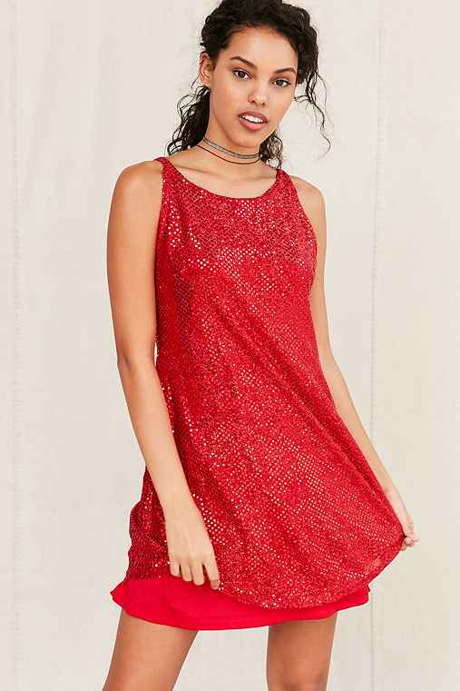 Vintage Red Sequin Dress,ASSORTED,ONE SIZE