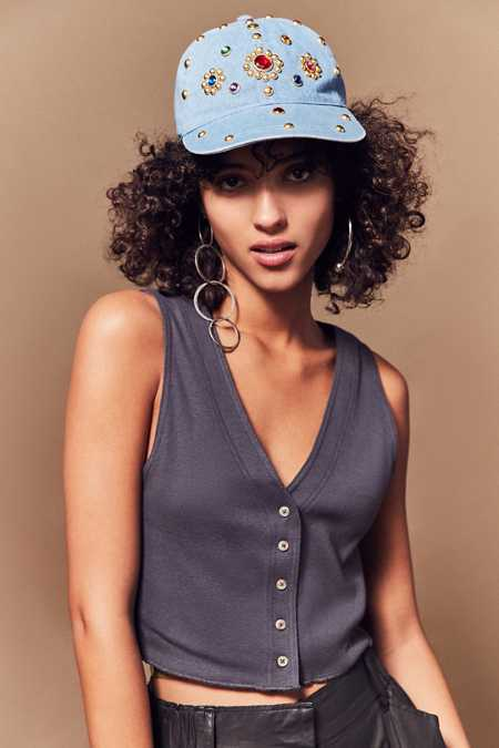 Denim Gemstone Baseball Hat