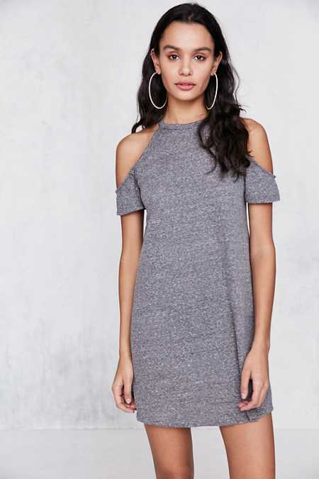 BDG Heathered Cold Shoulder T-Shirt Mini Dress