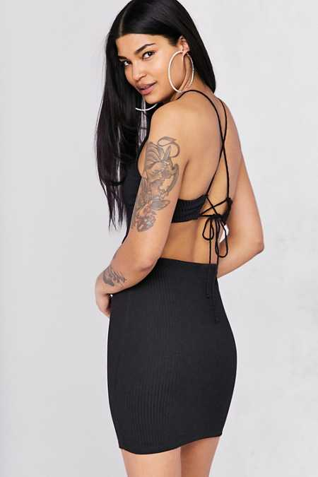 Silence + Noise Cutout Strappy Back Bodycon Mini Dress