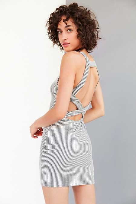 Silence + Noise Ribbed Strappy-Back Bodycon Mini Dress