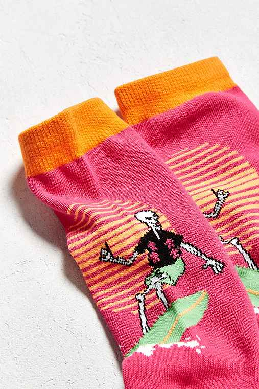 Surf Skeleton Crew Sock,PINK,ONE SIZE