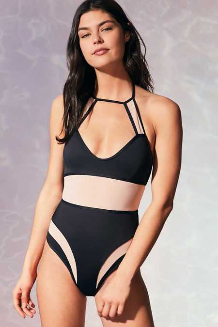 Evil Twin Illusion Mesh One-Piece Swimsuit
