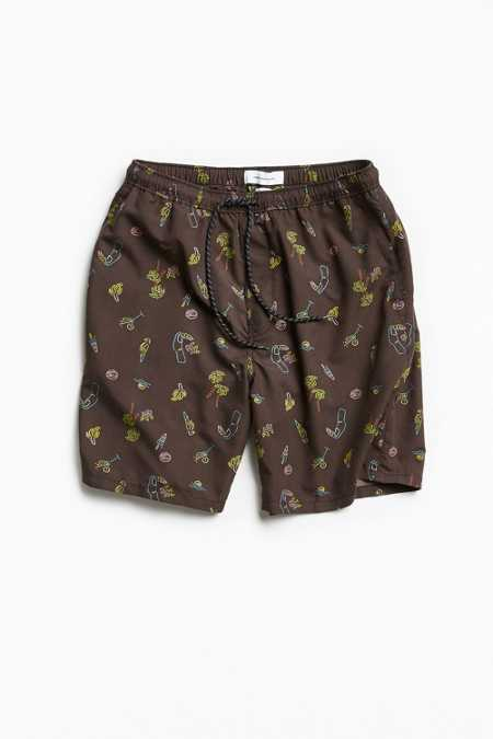 UO Slade Printed Retro Volley Short