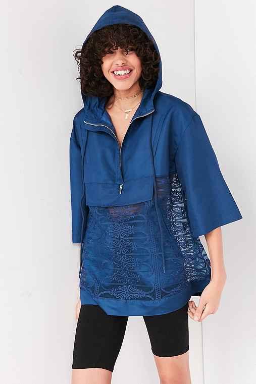 Kimchi Blue Mixed Lace Popover Windbreaker Jacket,NAVY,XS