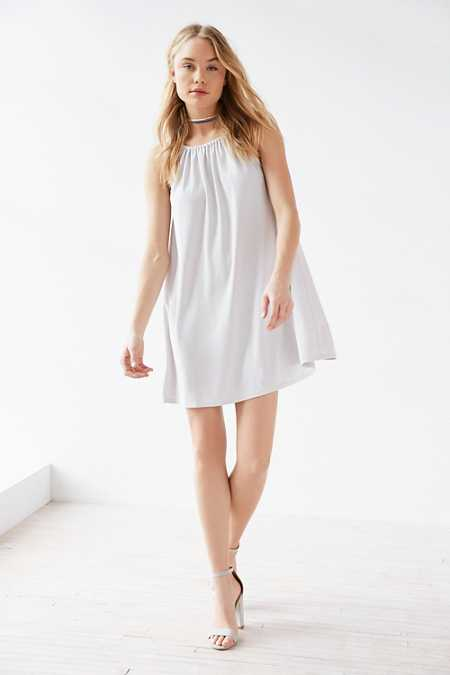 Silence + Noise Shirred High-Neck Swing Mini Dress