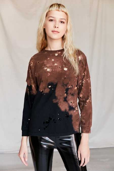 Urban Renewal Recycled Destroyed Bleached Long-Sleeved Shirt