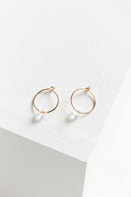 Genuine Stone Hoop Earring