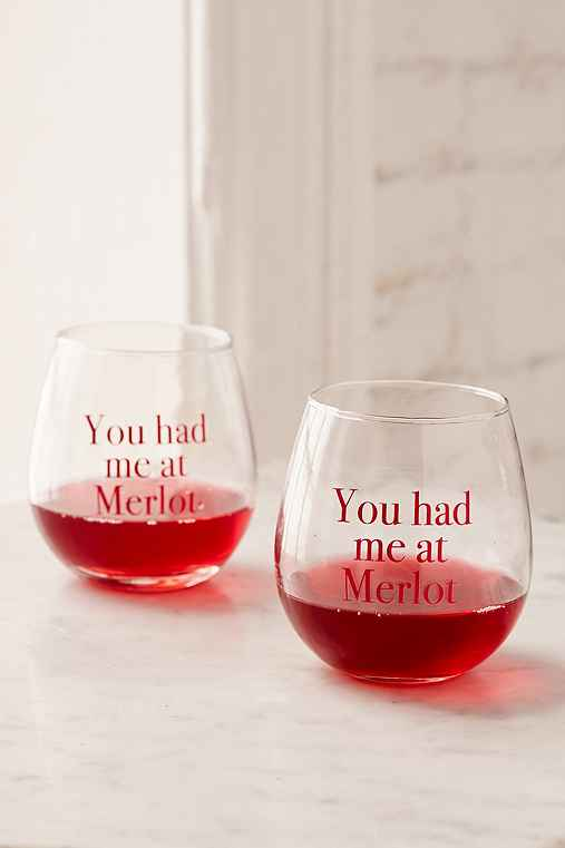 You Had Me At Merlot Stemless Wine Glasses Set,MAROON,ONE SIZE