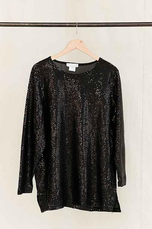 Vintage Black Sequin Dress,ASSORTED,ONE SIZE