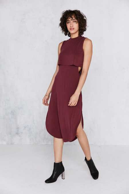 Silence + Noise Cutout Twofer Mock-Neck Midi Dress