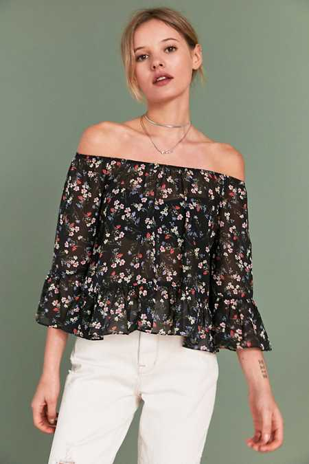 Pins And Needles Ditsy Floral Off-The-Shoulder Top
