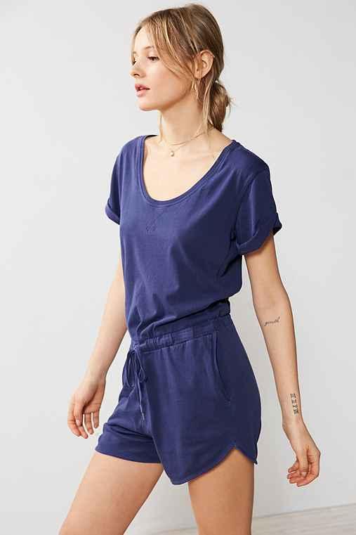 BDG Cuffed Knit Tee Romper,BLUE,L