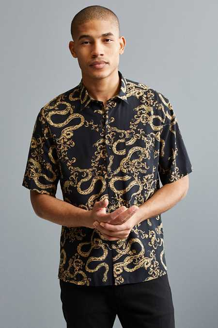 UO Baroque Short Sleeve Button-Down Shirt