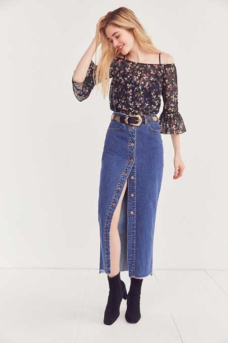 Dr. Denim Venla Button-Front Maxi Skirt