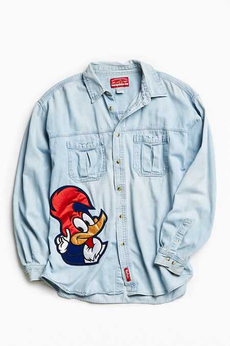 Vintage Embroidered Cartoon Patch Denim Button-Down Shirt