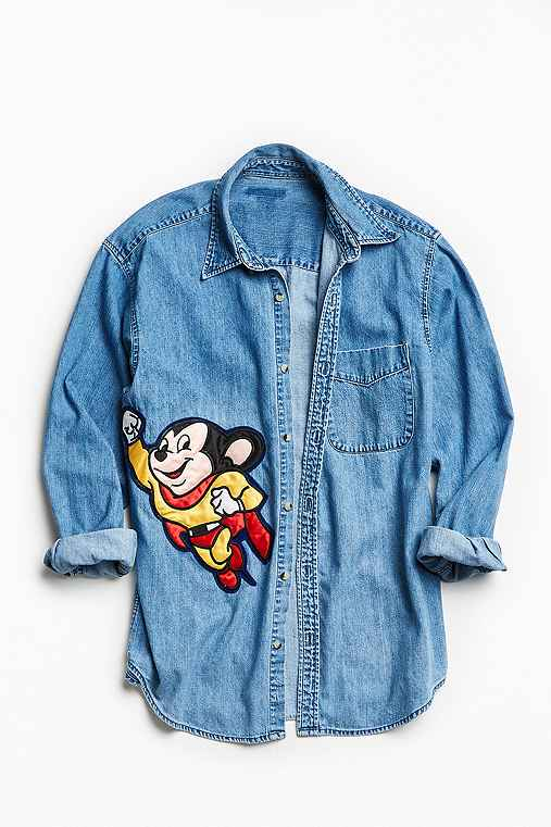 Vintage Embroidered Cartoon Patch Denim Button-Down Shirt,YELLOW,L/XL