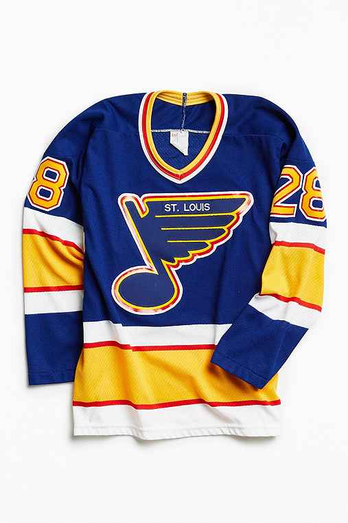 Vintage NHL St. Louis Blues Bob Bassen Hockey Jersey,BLUE,S