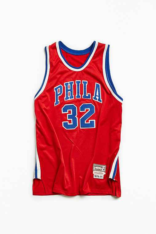 Vintage NBA Philadelphia 76ers Billy Cunningham Basketball Jersey,RED,XXXL